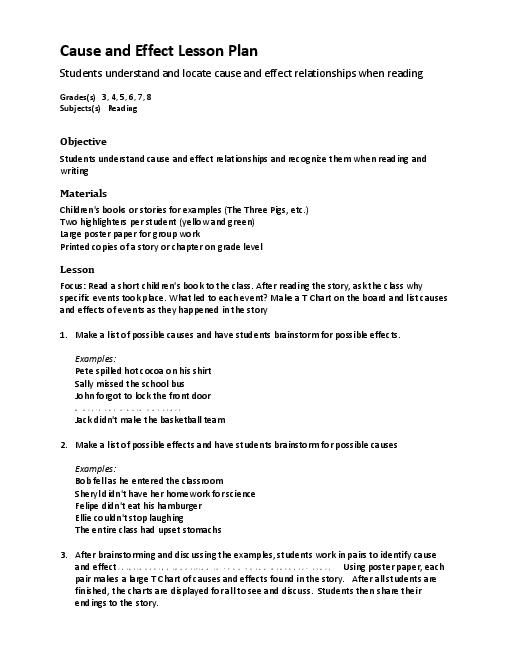 cause and effect essay lesson plan This cause and effect bundle contains 6 resources for teaching students how to identify cause and effect within sentences, short reading passages (1 paragraph), and longer reading passages (multiple paragraphs.