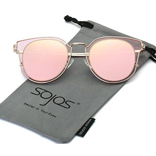 7f07ae79a12 SojoS Fashion Polarized Sunglasses UV Mirrored Lens Oversize Metal Frame  SJ1057 With Rose Gold Frame Pink Mirrored Lens
