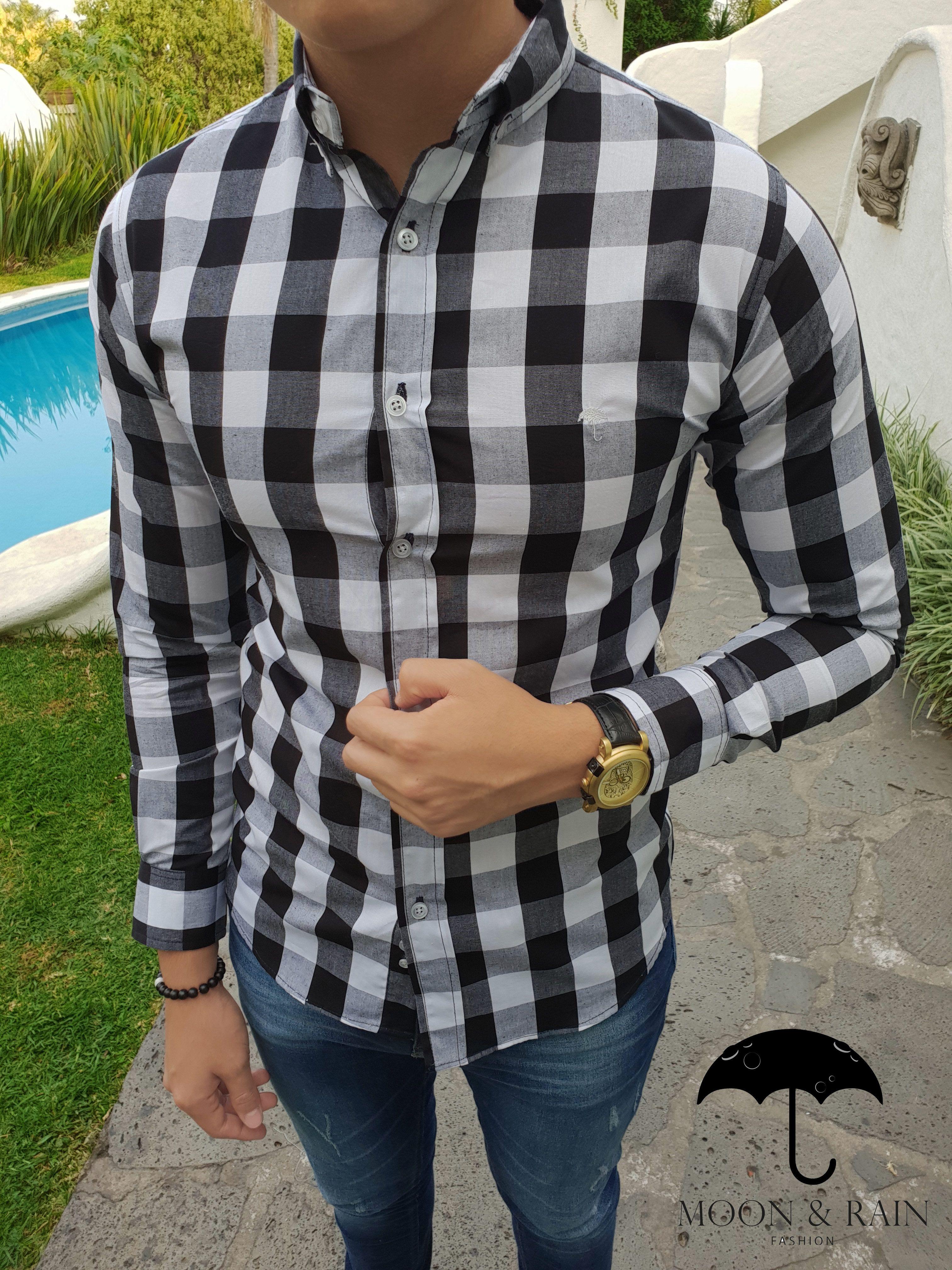 wholesale dealer 152a5 87038 Mini Negro Fit Para Y De Camisa Hombre  Slim Outfit Blanco Cuadros wdUIvYqYx