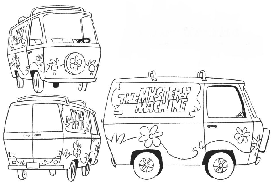 Scooby Doo Mystery Machine Coloring Pages Free Cartoon Scooby