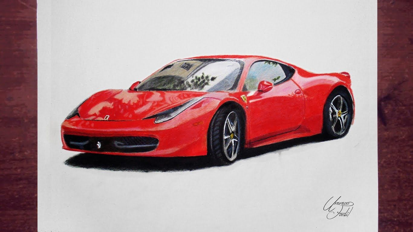 Drawing Cars 2 Ferrari Prismacolor Pencils Color Pencil Sketch Cartoon Car Drawing Drawings