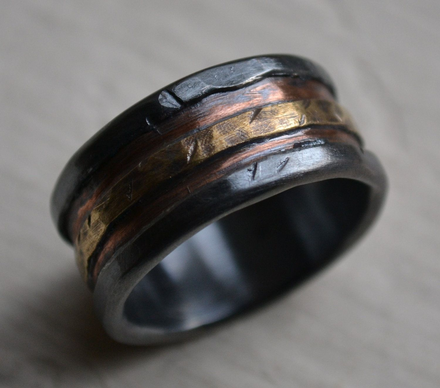 Mens Wedding Band Rustic Fine Silver Copper And Br Handmade Designed Wide Ring Manly Customized 275 00 Via Etsy