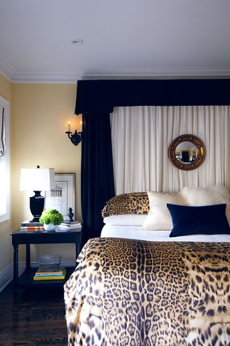 Beautiful Headboard The Leopard Cover Add An Interesting Contrast To The Dark Blue And Comlement The Home Decor Leopard Home Decor Animal Print Bedroom Decor Lovely bedrooms with leopard accents