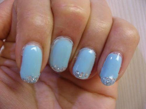 light blue gel nail design perfect