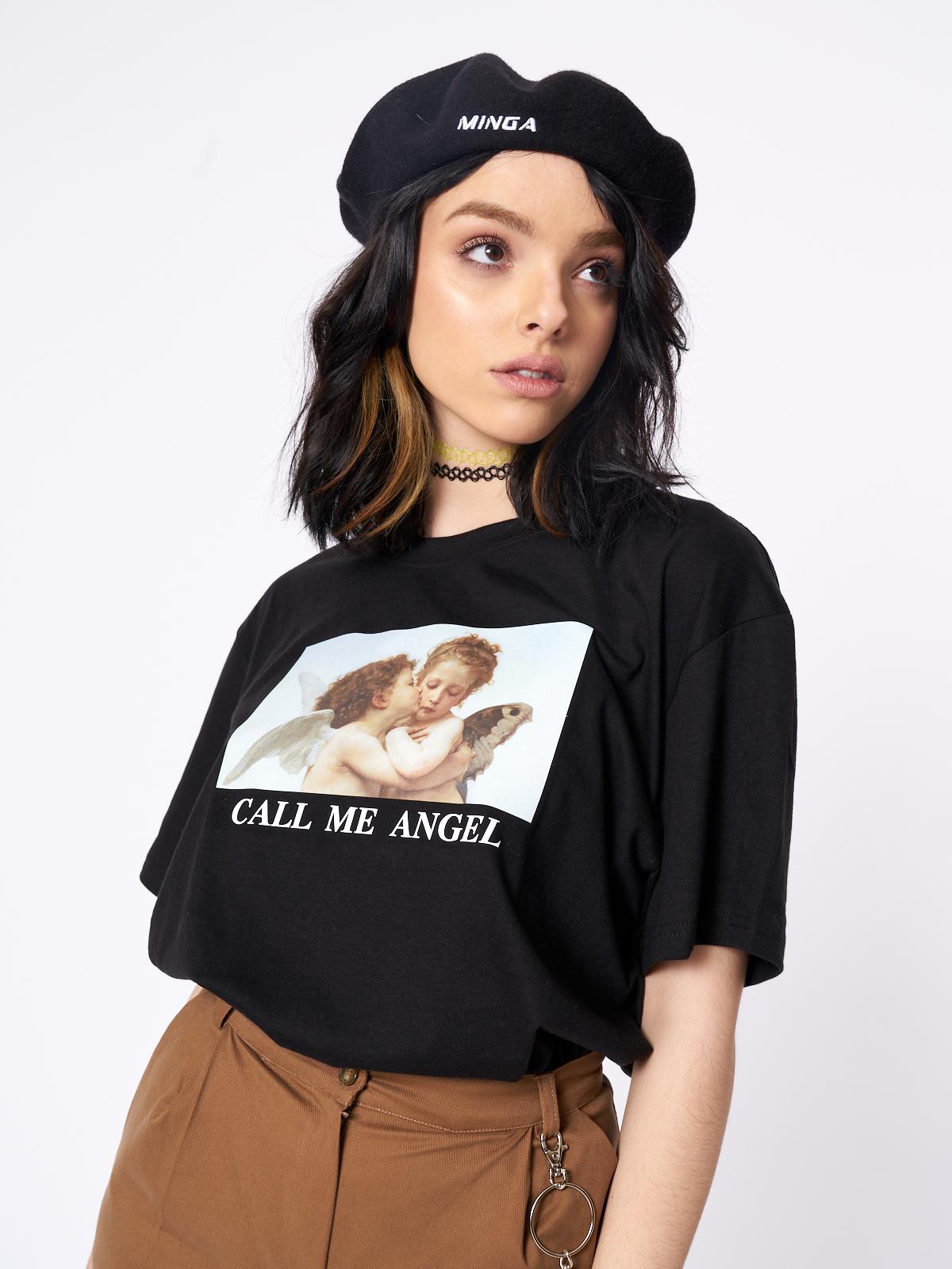 Call Me Angel T Shirt Oversized Tee Outfit T Shirts For Women Retro Fashion Women