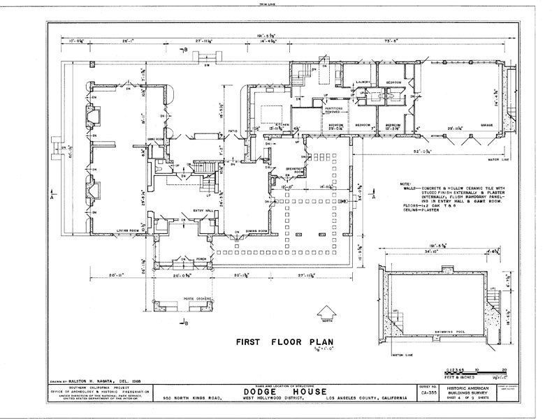 Irving Gill Dodge Residence Modern Style House Plans Colonial House Plans Architectural Floor Plans