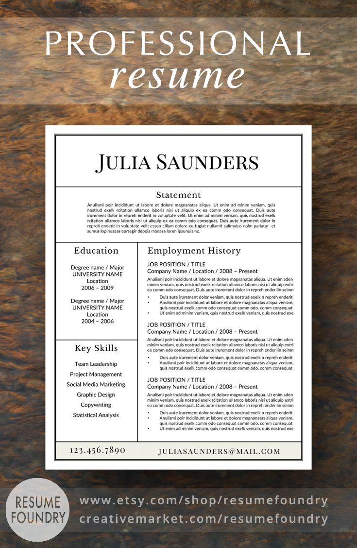 Professional Resume Template For Word Instant Download Resume
