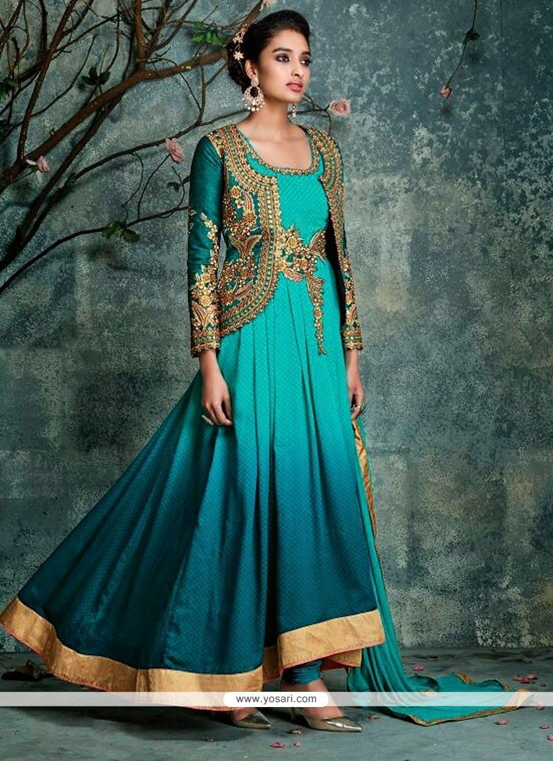 Wonderous Sea Green Georgette Anarkali Salwar Kameez Model: YOS7032 ...