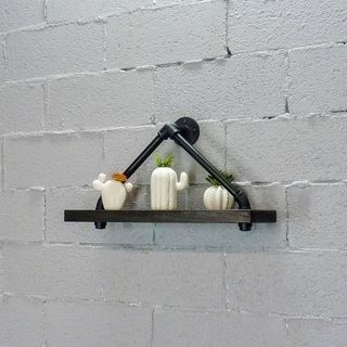Photo of Charlotte Modern Industrial 24″ Wide Decorative Triangle Wall Shelf (Black & Espresso), Furniture Pipeline(Acacia)