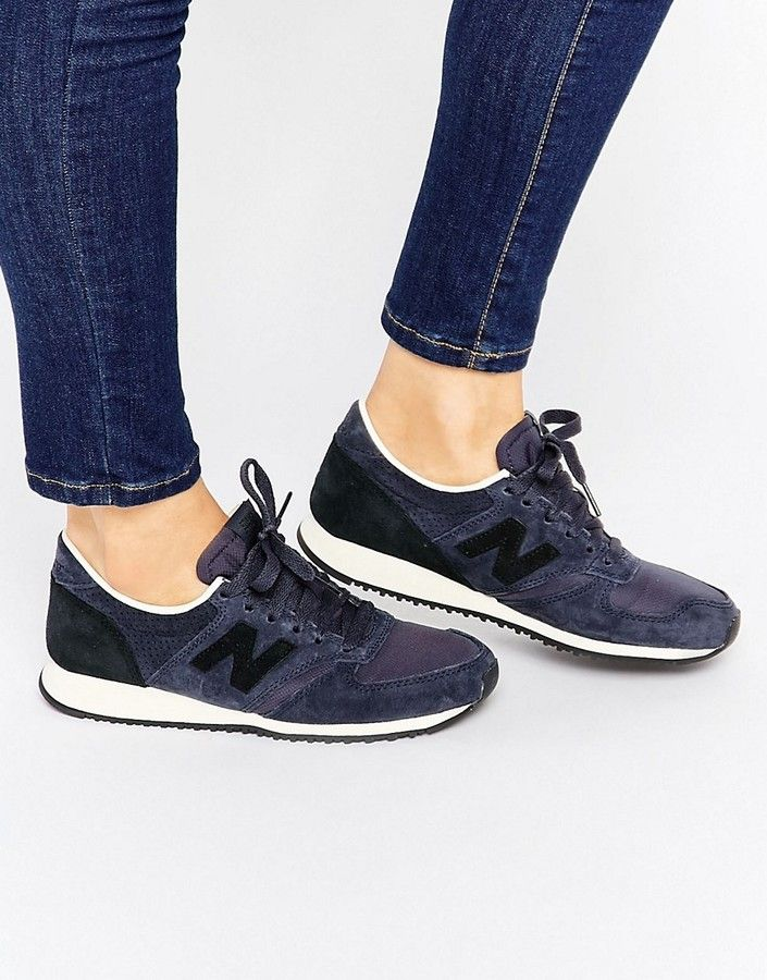 New Balance 420 Navy And Black Suede Trainers | Sneakers ...
