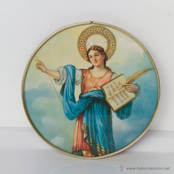 San pancracio en marco redondo y met lico 15 5 cm de diametro vintage decoraci n varios - Desvan vintage ...