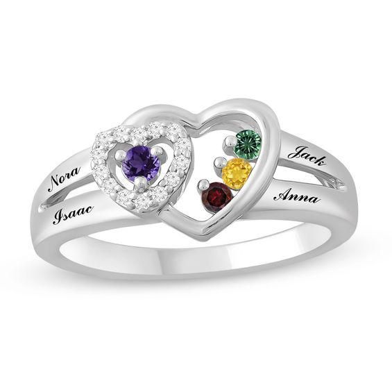 Zales Mothers Marquise Birthstone Double Row Split Shank Bypass Ring (2-4 Stones and Names) tMRNK7Ggc