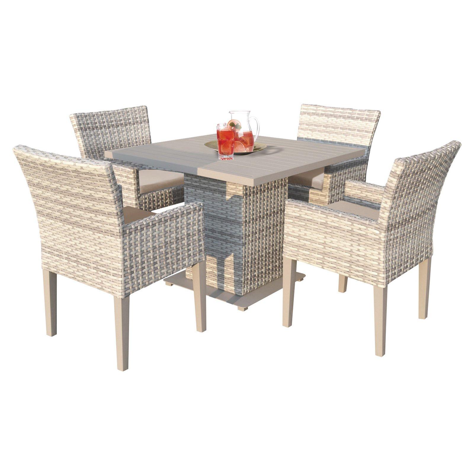 Outdoor TK Classics Fairmont Wicker 5 Piece Square Table