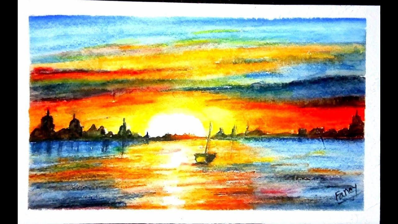 A Unique Beautiful Sunrise Landscape Drawing Watercolor Pencil