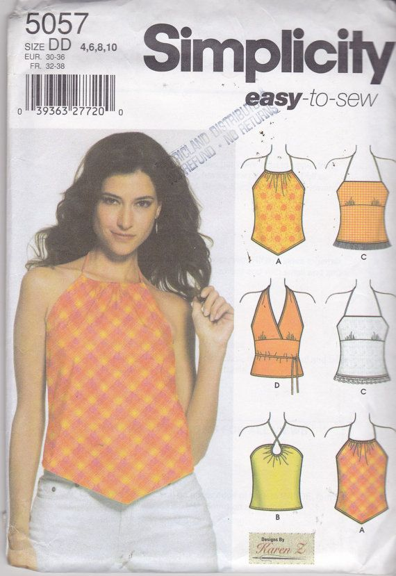 Uncut Sewing Pattern Easy To Sew Halter Tops Simplicity Pattern