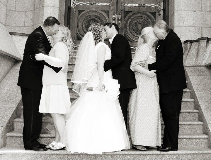 You, your parents and your husbands parents kissing on your wedding day... absolutely adorable.