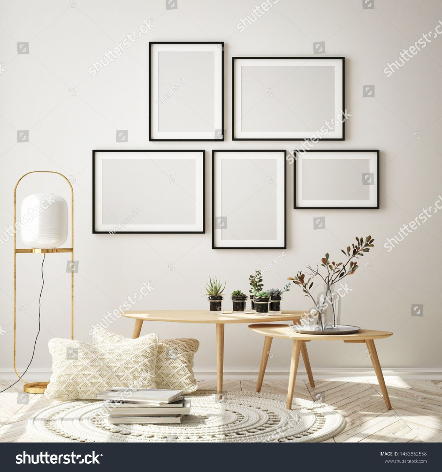mock up poster frame in modern interior background living room Scandinavian style 3D render 3D illustration