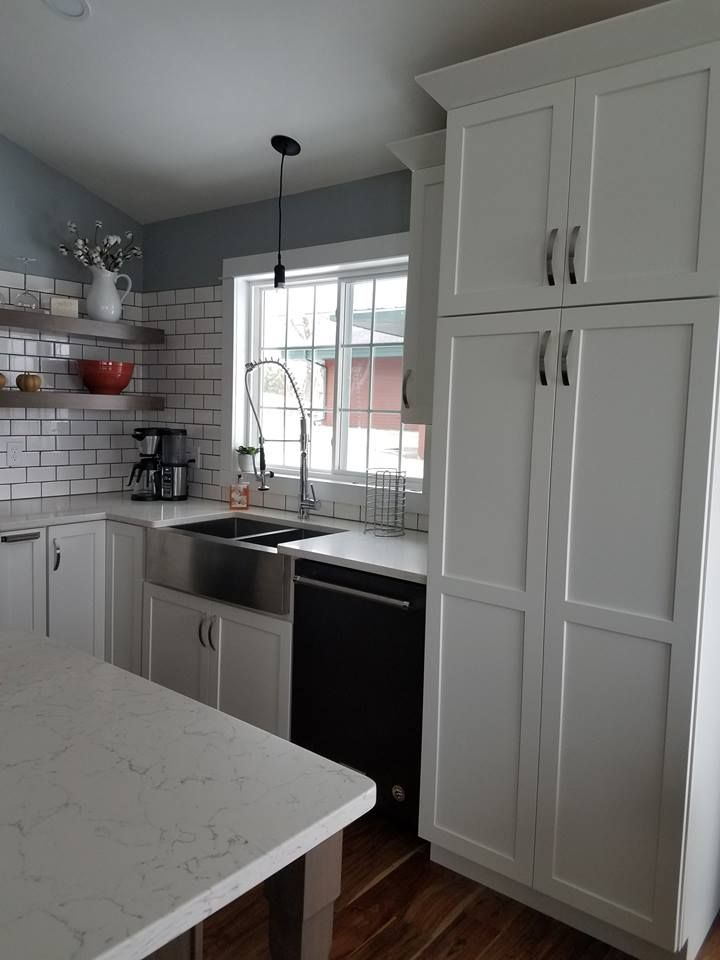 "Maple Cabinets Painted ""Serenity White"" with a Stained ... on Maple Cabinets With White Countertops  id=91482"