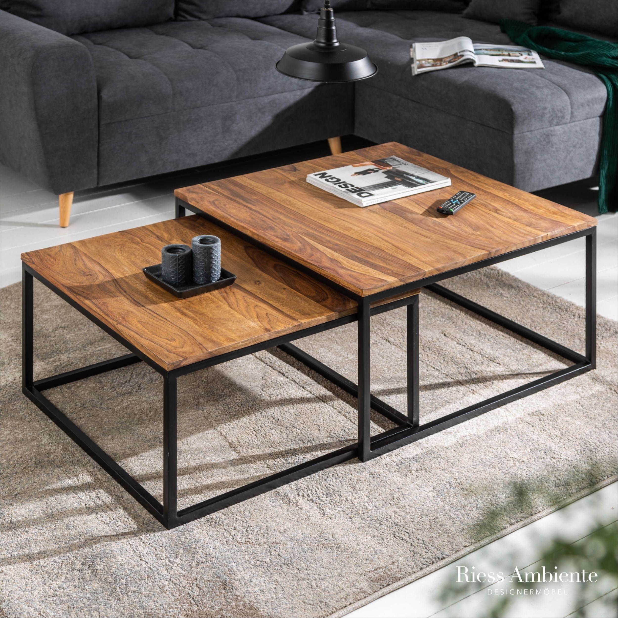 Design Couchtisch 2er Set Elements 75cm Sheesham Stone Finish Mit Eisengestell Riess Ambiente De Couchtisch Massivholz Couchtisch Wohnzimmertisch
