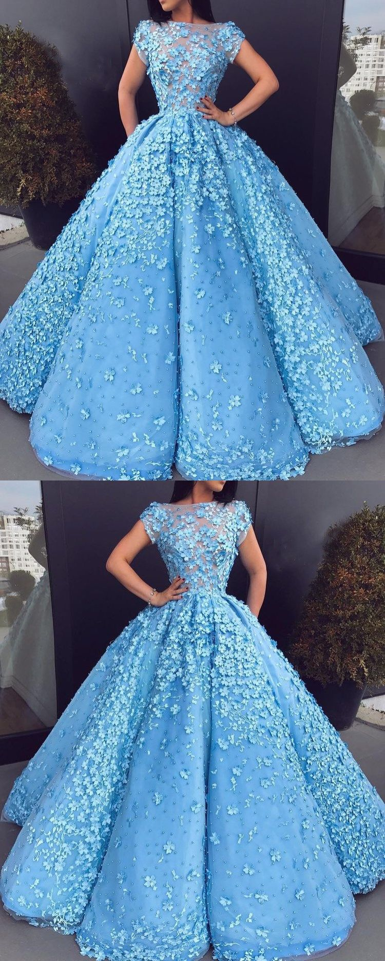 Beautiful prom dresses blue floral lace bateau long ball gown prom