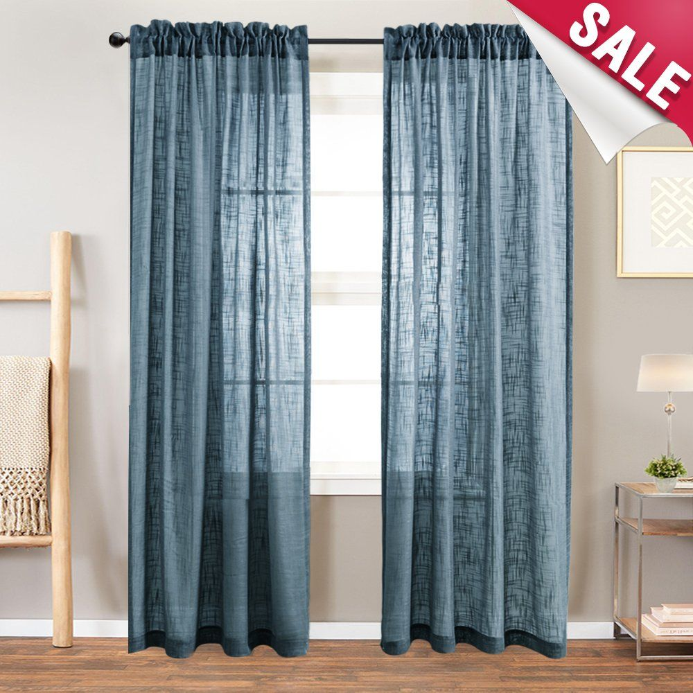 Linen Textured Sheer Curtains For Living Room 63 Inches Long Light Filtering Semi Sheer Window Curtain Panels Curtains Curtains Living Room Living Room Drapes