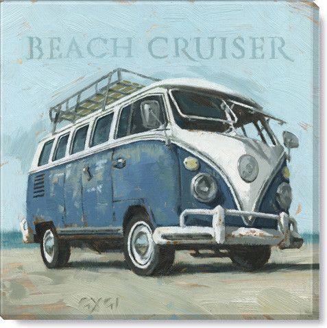 Gallery Wrap On Wood Frame Vw Beach Bus Vintage Trucks