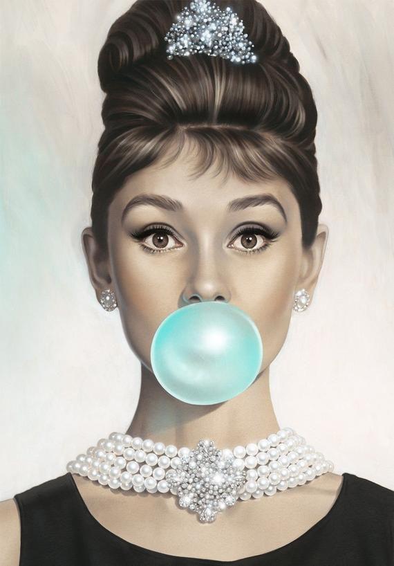 Audrey Hepburn Bubblegum Poster Print A Various Size S