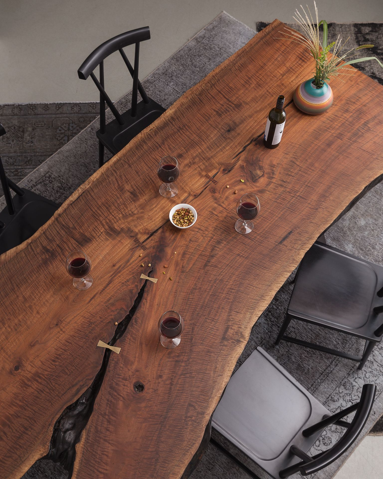 split communal table 120 wood slab