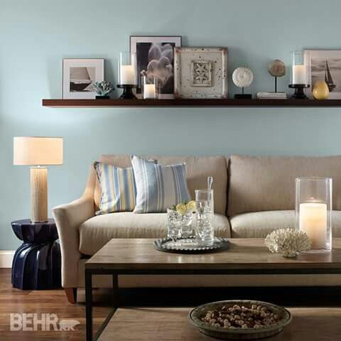 Love The Wall Color Behr Watery Hdc Ct 26 Used It In My Kitchen And It S Perfect Living Room Paint Living Room Decor Inspiration Living Room Color Schemes