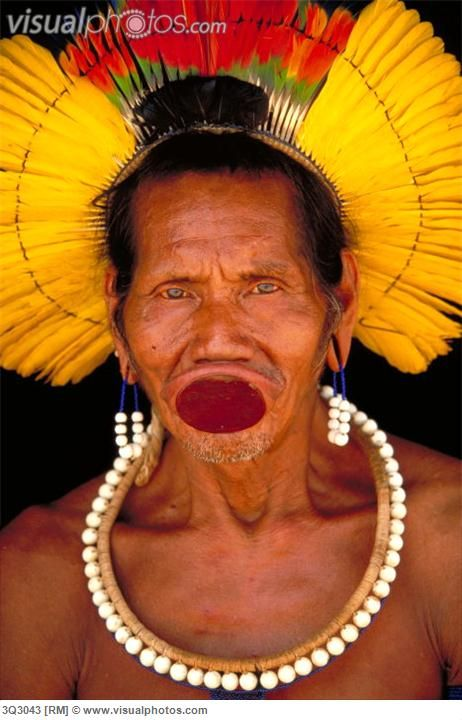 Adesivo Para Mesa De Vidro ~ Brazil Portrait of a Kayapo Tribesman from Para u00a9 Art Wolfe Adorned Amazon Basin