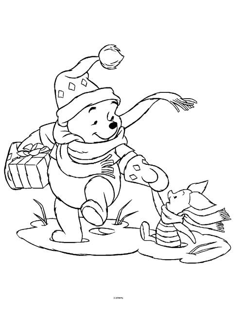 Winnie The Pooh Christmas Printables Cartoon Coloring Pages