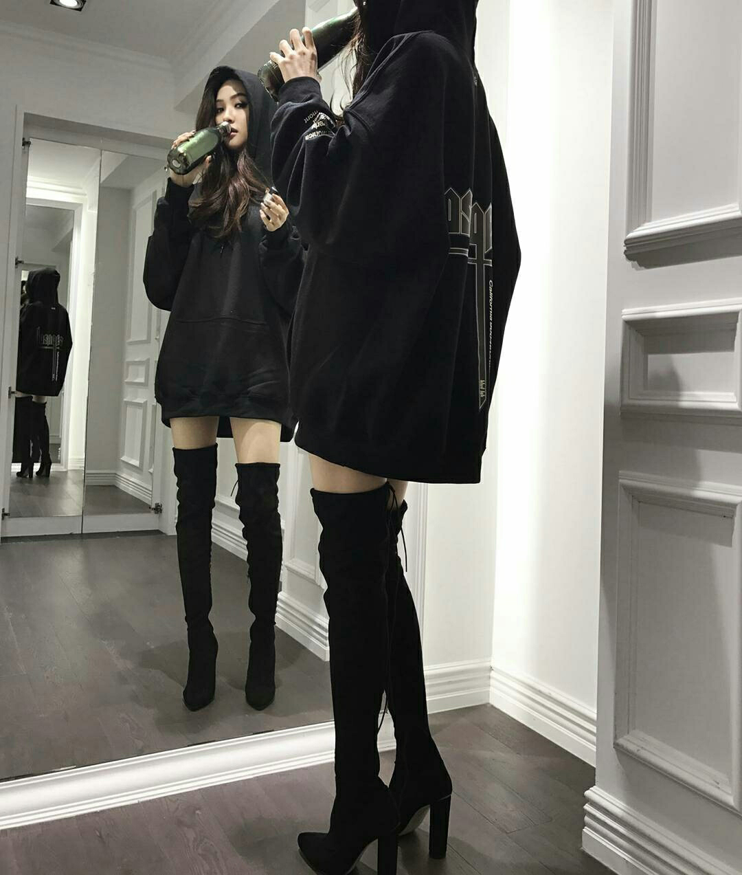 Baggy hoodie. Thigh high boots   Korean
