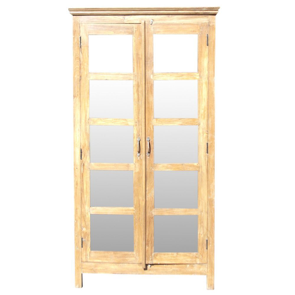 British Colonial Glass Door Bookcase Glass Door Bookcase British