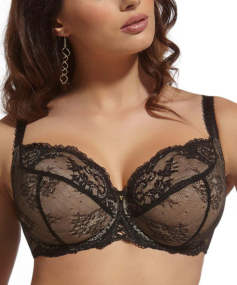 8f8c22d80723f Cappuccino   Black Lace Full-Fit Sensuelle Bra - Plus Too ...