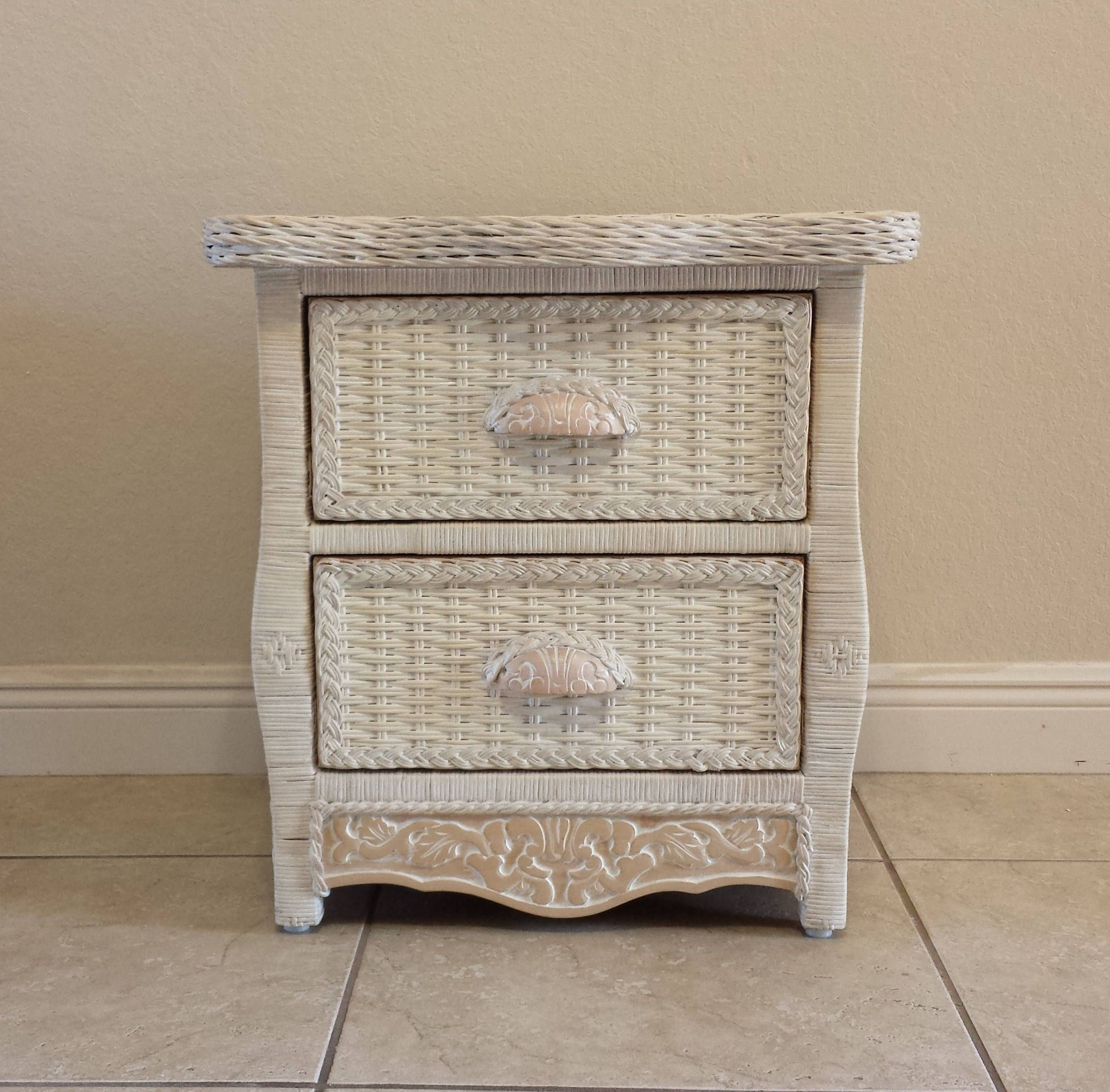 Wicker Rattan Nightstand Cottage Shabby Chic Bed Table Jamaica Imports Pier One Wicker Bedroom Furniture White Wicker Bedroom Furniture Wicker Bedroom