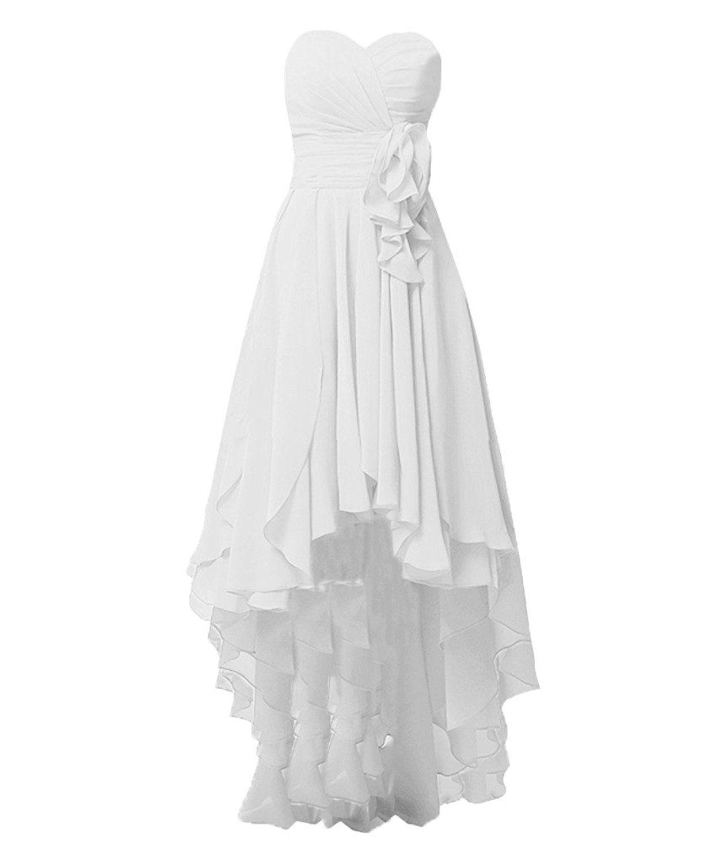 Kevins bridal chiffon high low bridesmaid dresses pleats beach