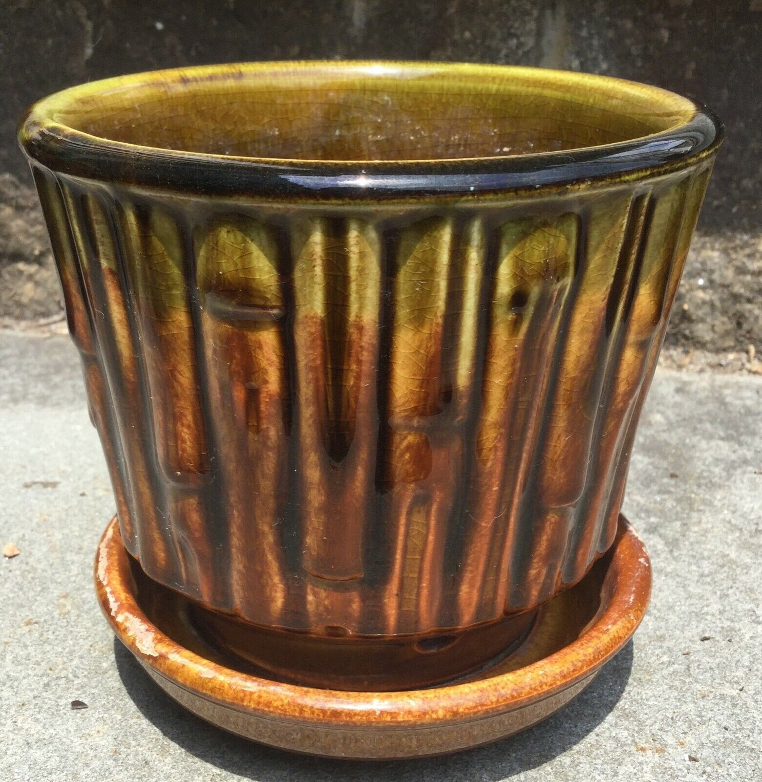 Vintage Mccoy Bamboo 0372 Planter 4 1 4 Tall Flower Pot With Saucer Ebay Tall Flowers Planters Flower Pots