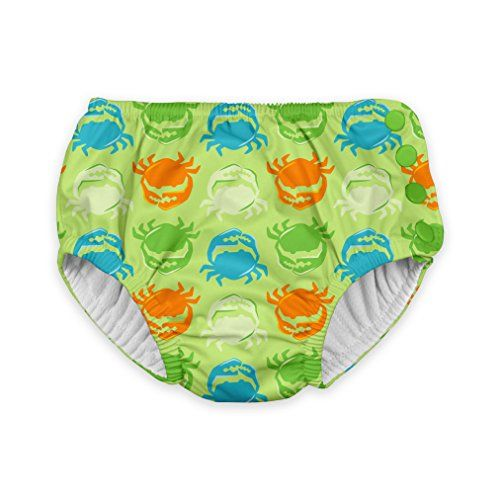 i play. Toddler Boys' Snap Reusable Absorbent Swimsuit Diaper, Light Green Crab, 3T. For product info go to: https://all4babies.co.business/i-play-toddler-boys-snap-reusable-absorbent-swimsuit-diaper-light-green-crab-3t/