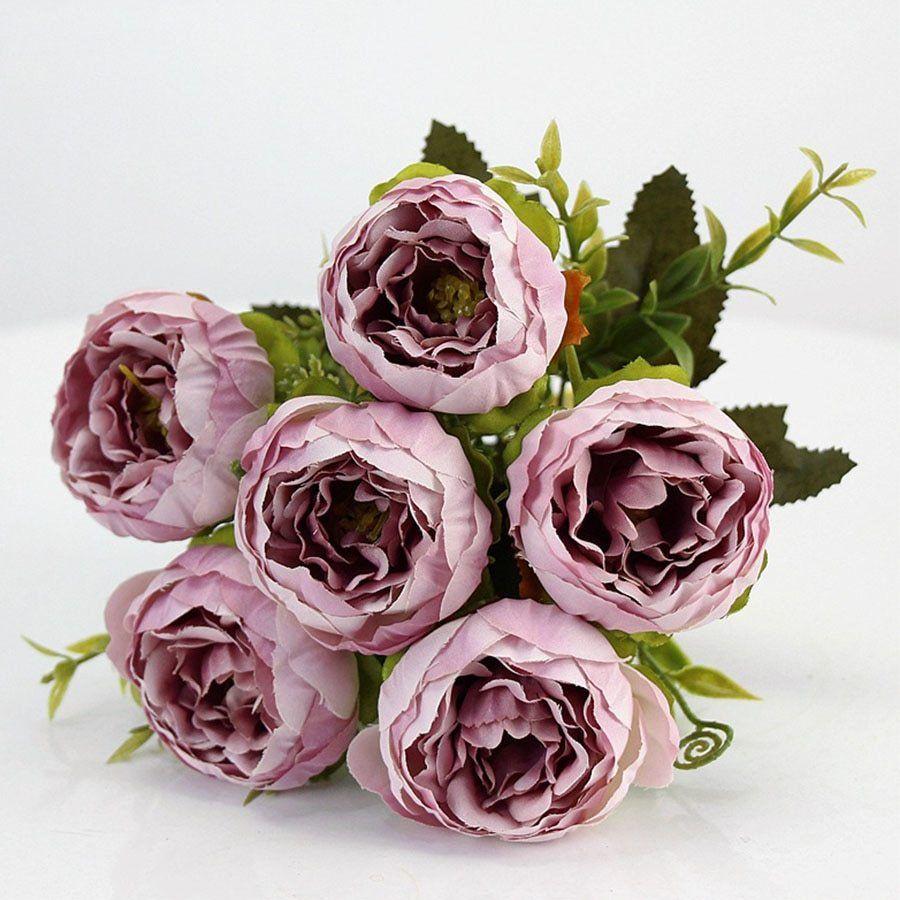 Purple Pink Big Peony Artificial Flowers Elegant Beautiful Silk Fake Flowers Blossom Peonies We With Images Fake Flowers Wedding White Peonies Bouquet Silk Peonies Bouquet
