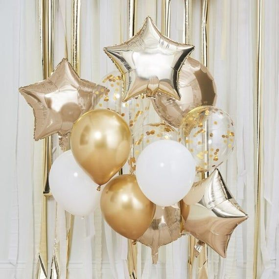 Gold Pink Party Balloons Chrome Hen Decorations Birthday Star Round Foil Wedding Confetti Confetti Balloons Star Centerpieces Gold Balloons