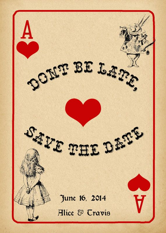 Alice in Wonderland Save the Date Card Vintage Stile by StudioDMD - save the date template