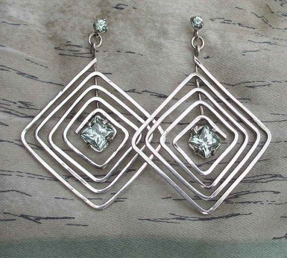 Mint green garnet earrings sterling silver by zilvera on Etsy, $125.00