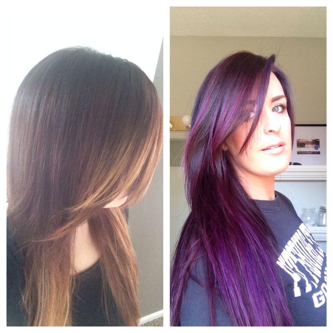 Beforeafter purple hairusing pravana chromosilk vivids formula