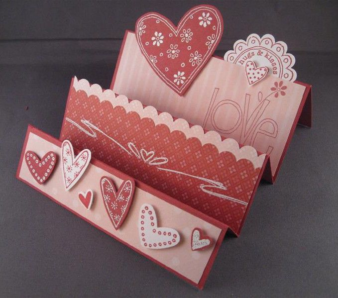 Stampin Up Valentine Stair Step Card