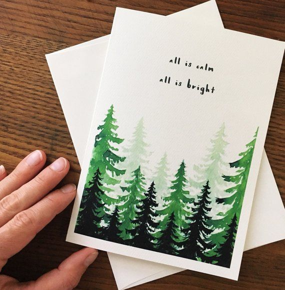 Evergreen Tree. Christmas Tree Card. Silent night Card. Holiday Card. Blank Card. Xmas Card. Woodland Card. Watercolor Trees. Set of 10