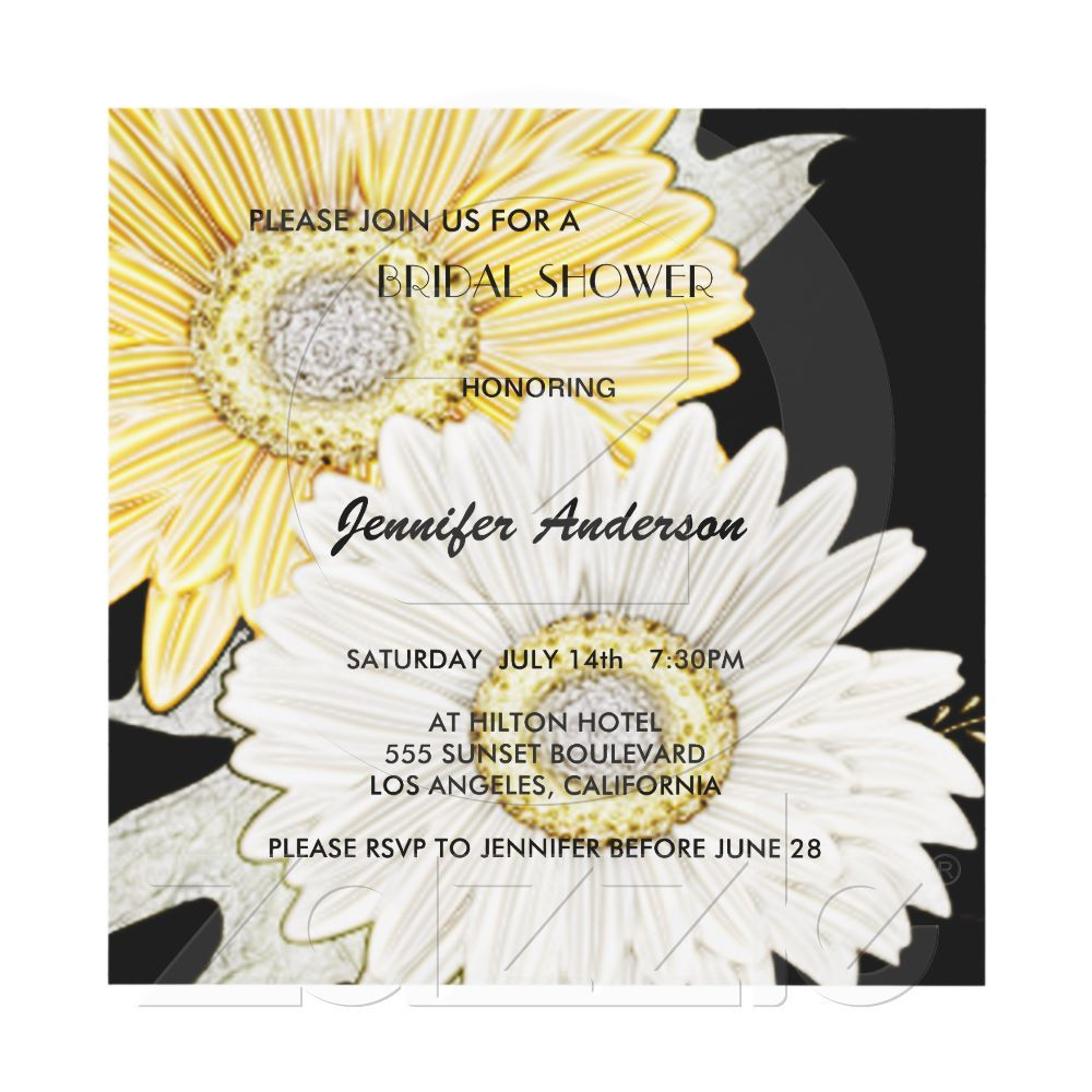 Yellow & White Gerber Daisy Bridal-Wedding Shower Personalized ...
