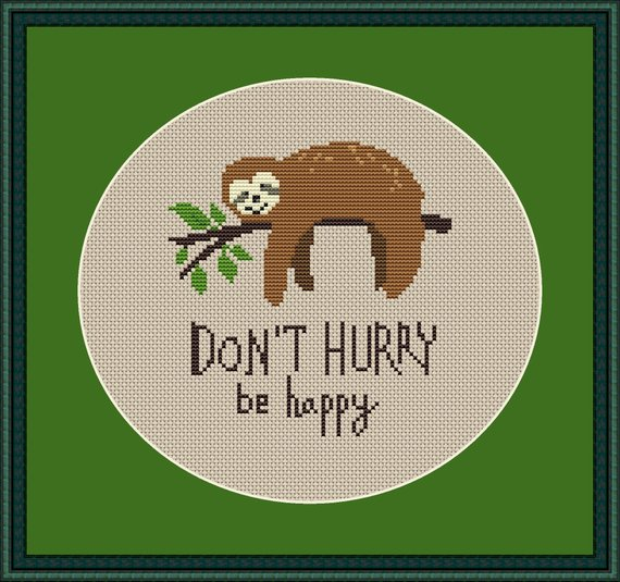 Cute Sloth cross stitch pattern PDF, subversive cross stitch, modern cross stitch pattern funny, beginner embroidery easy office quote diy