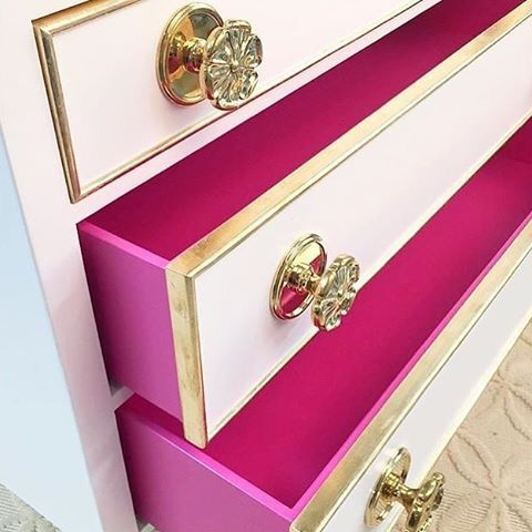 AFK Furniture..,the pink on the drawer interiors is so sweet!