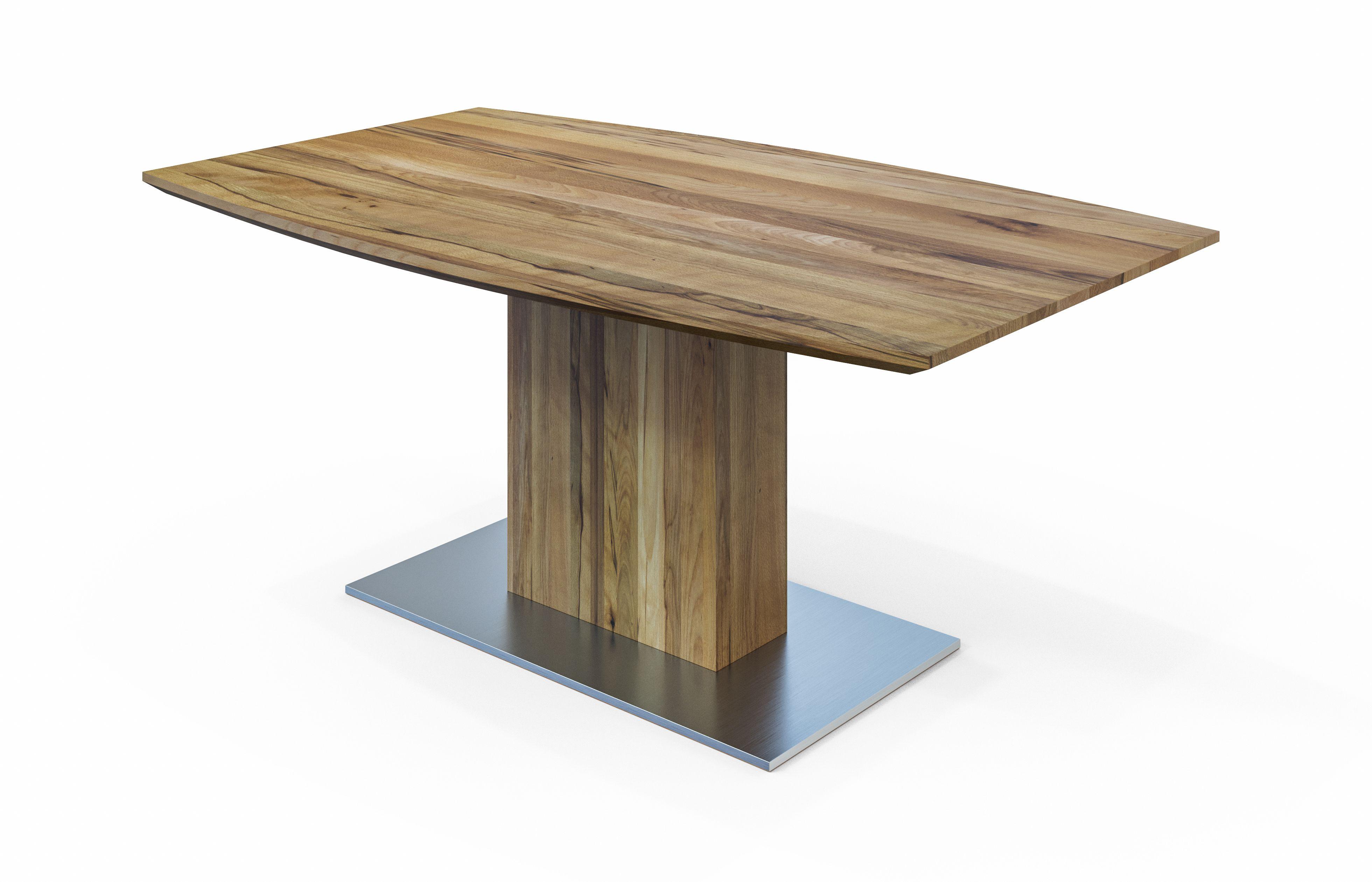 Die Tischplatte In Bootsform Wirkt Edel Und Modern Zugleich Unser Esstisch Pontos Comnata Esstisch Esstisch Tisch Saulentisch