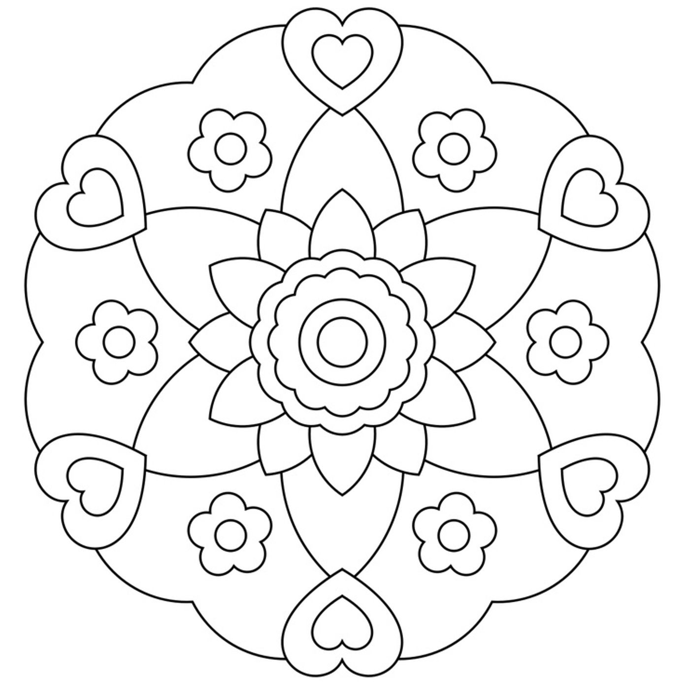Mandala coloring pages for kindergarteners - Flowerish Mandala Coloring Pages